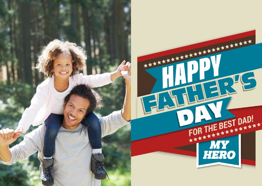 Happy Father's day my hero in red brwon and blue with star –mypostcard