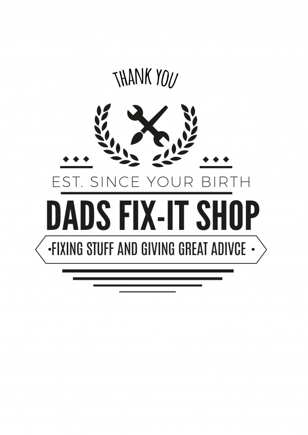 Card with Logo of a Dads-Fix-it-shop on it