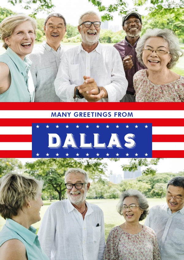 Dallas greetings in US Flag design