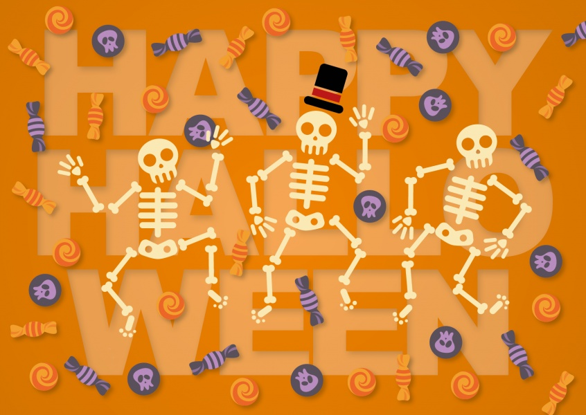Orange Happy Halloween card with skeletons