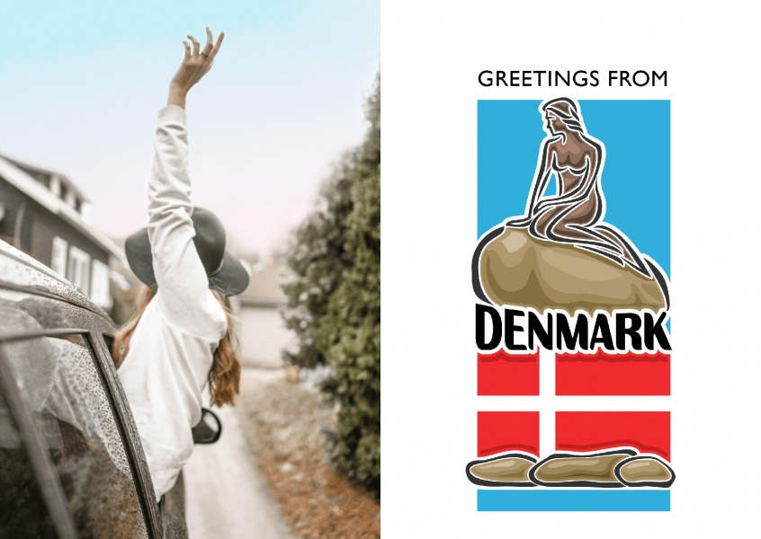 Denmark greeting card with little mermaid and danish flag on white background–mypostcard