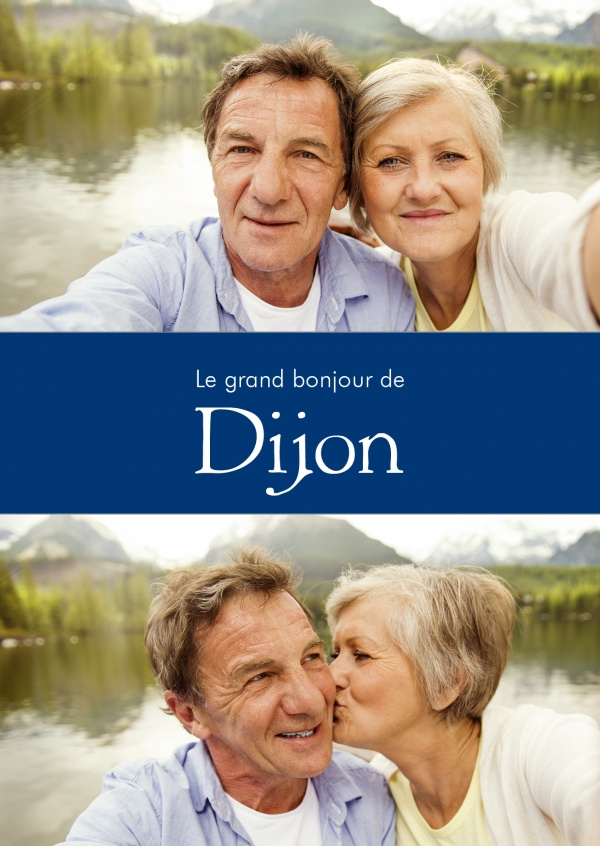 Dijon greetings in French language blue white