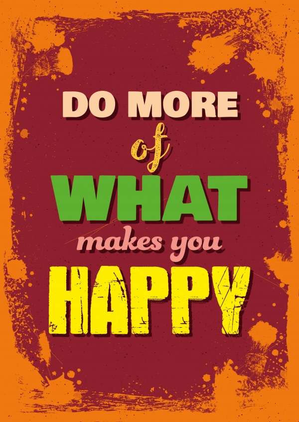 Vintage Spruch Postkarte: Do more of what makes you happy