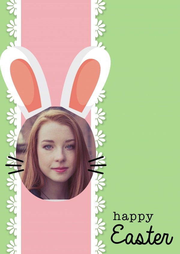 easter-bunny-face with green background and pink lace