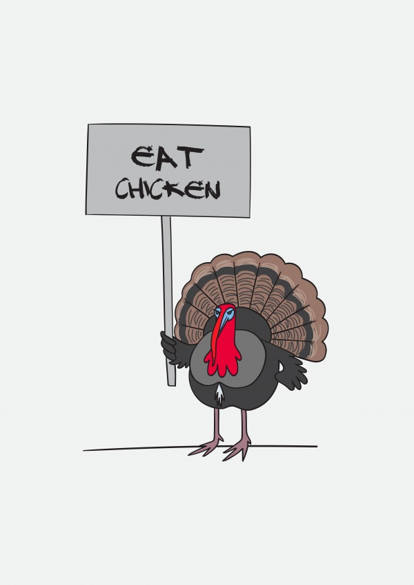Eat chicken. Turkey holding a handwritten sign.