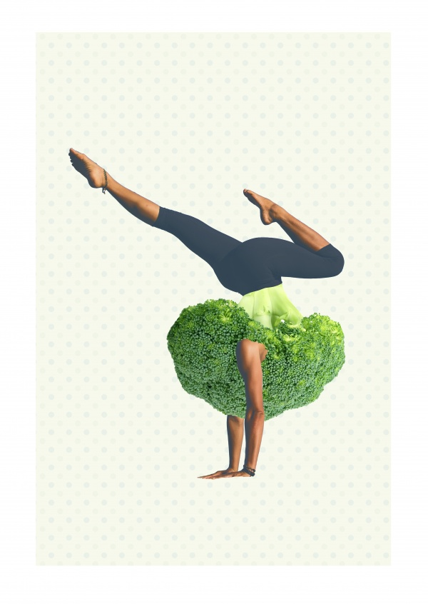 Broccoli woman doing yoga