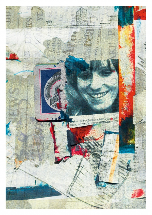 Belrost collage mit Gudrun Ensslin
