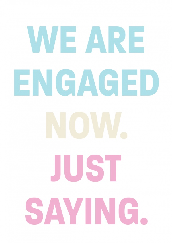 engagement announcement pastel colours on white