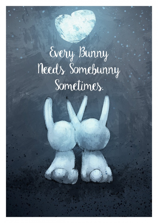Cute Easter bunny couple hugging each other in the moonlight