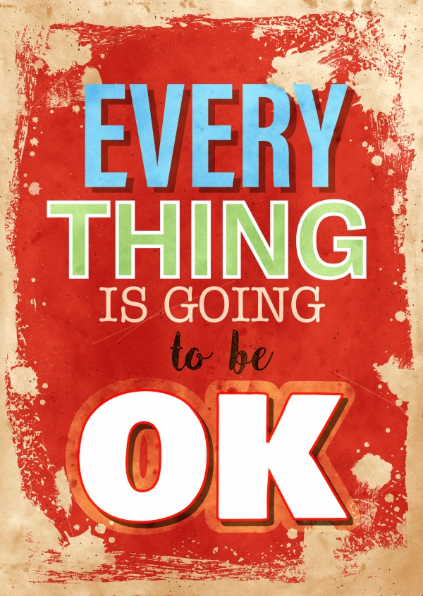 Vintage Spruch Postkarte: Everything is going to be ok