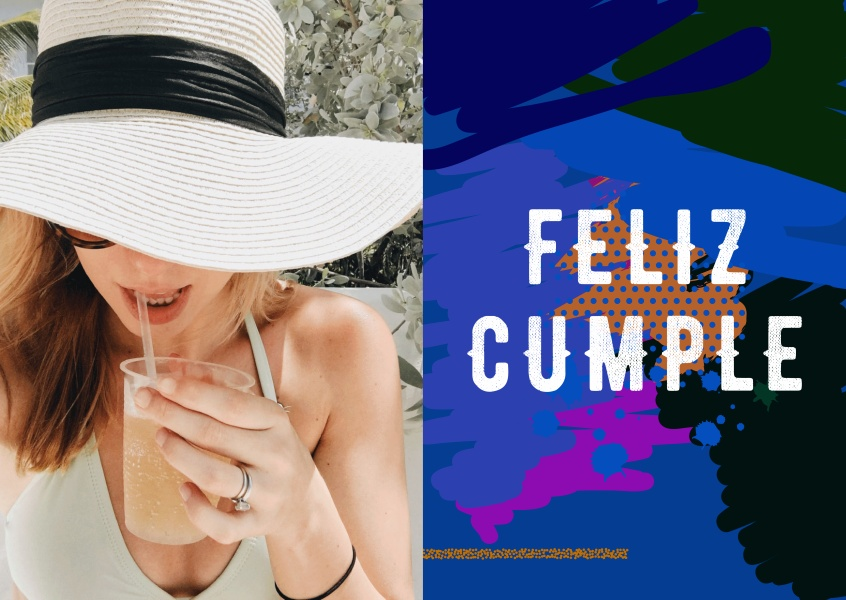 Feliz cumple! Postcard with a colorful and artistic background