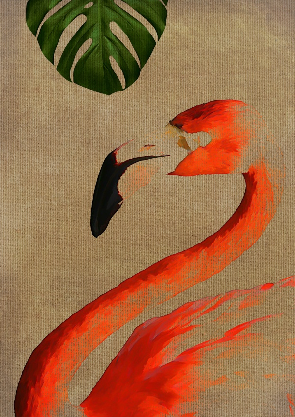 Kubistika antoehr flamingo with leaf