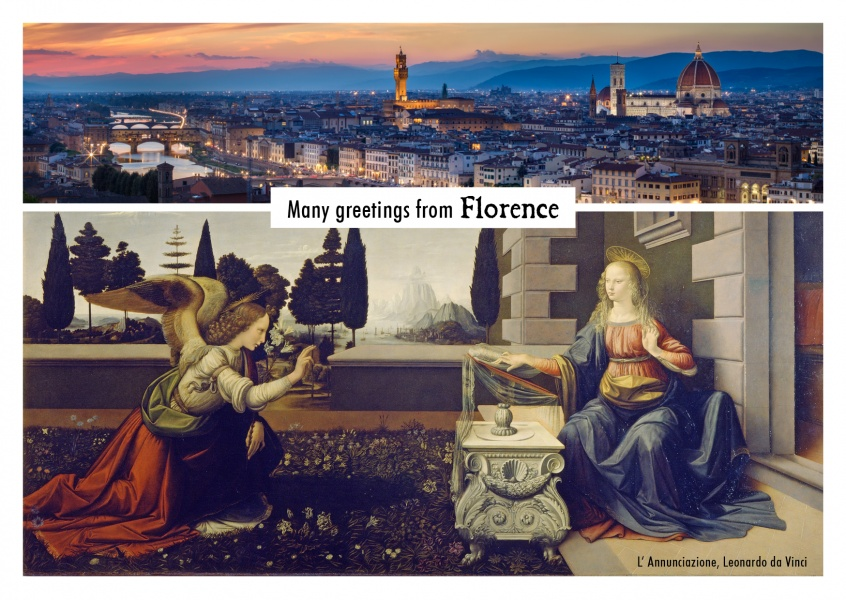 photocollage Florence: skyline panorama and painting by Da Vinci