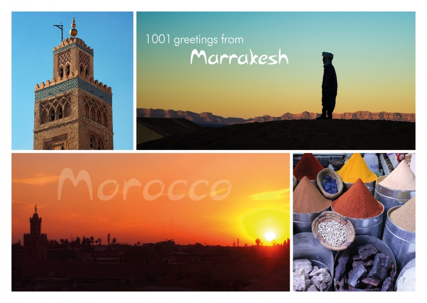 Marrakesh Morocco multipucture photo greeting card