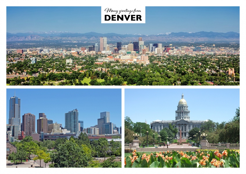 Dreier collage mit fotos aus Denver Colorado