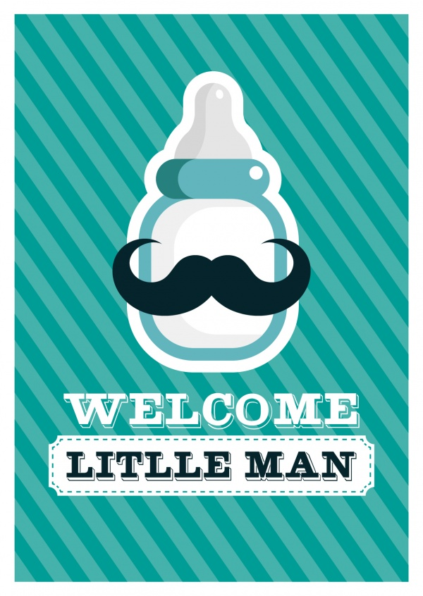 Welcome Little Man-Lettering with Moustache-Bottle on patterned Background