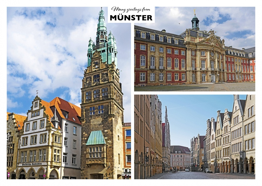 Photocollage with three photos of Münster in Westfalen