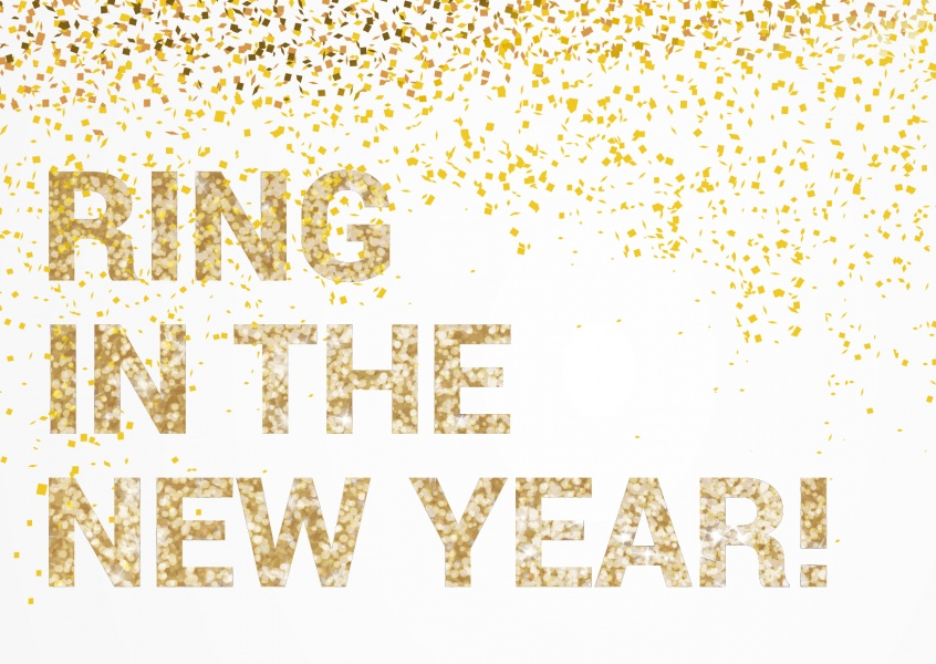 Golden lettering Ring in the New Year