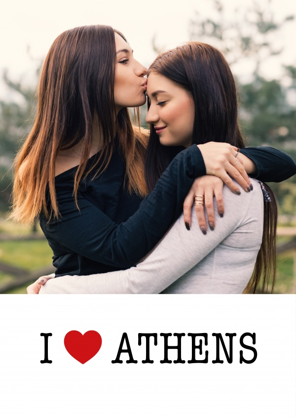 template with I love Athens sign