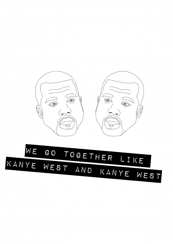 white card with Kanye West