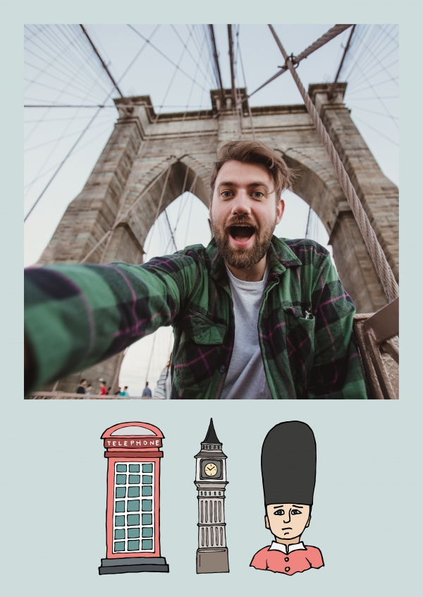 template with illustrated pictures from London