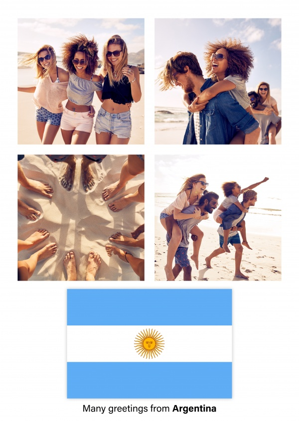 Postcard with flag of Argentina