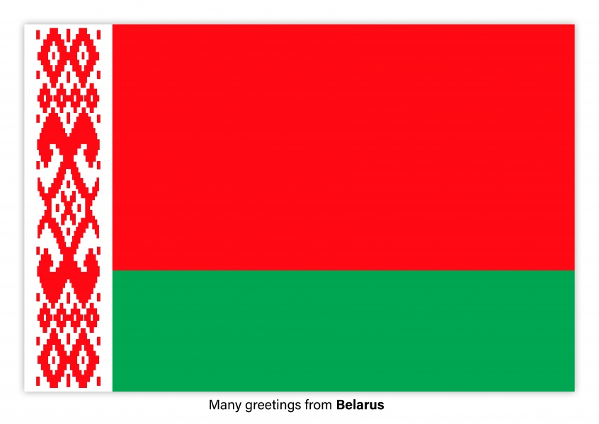 Postcard with flag of Belarus