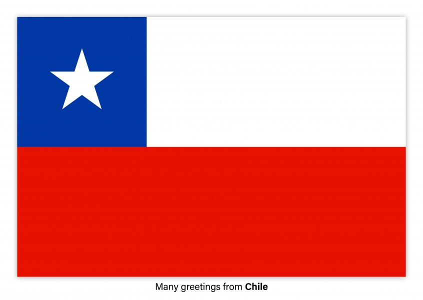 Postcard with flag of Chile