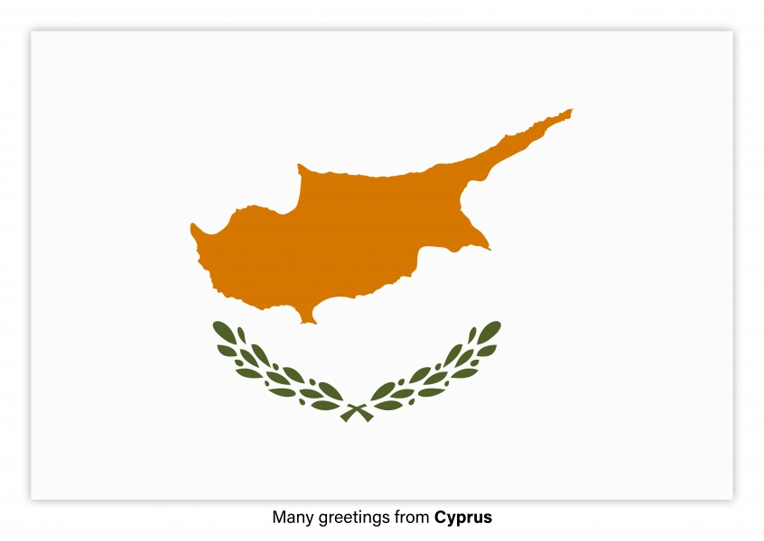 Postcard with flag of Cyprus