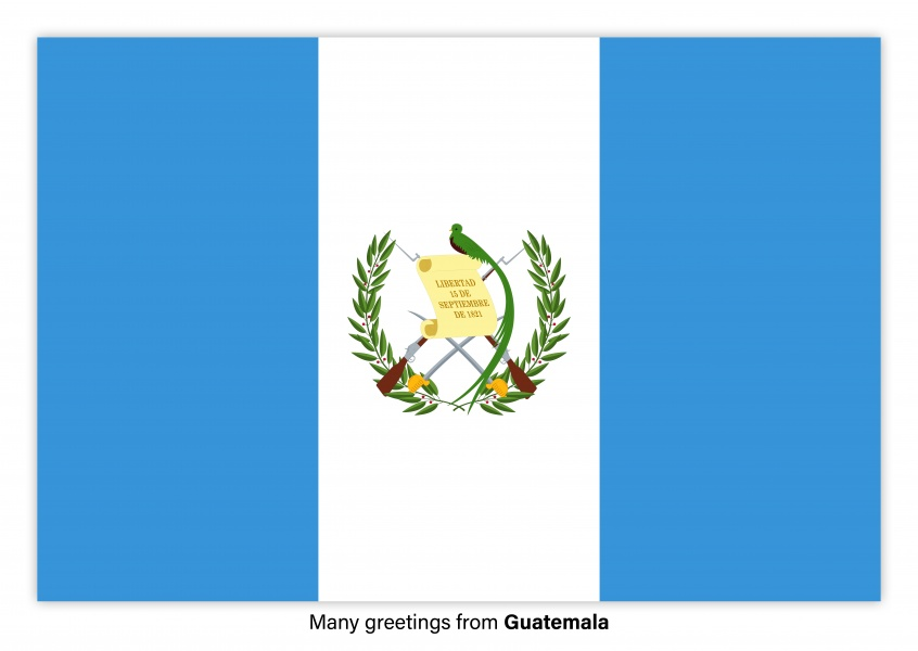Postcard with flag of Guatemala