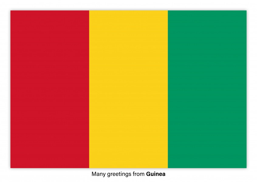 Postcard with flag of Guinea