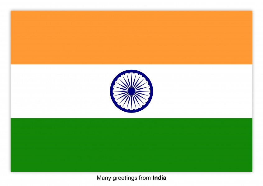 Postcard with flag of India