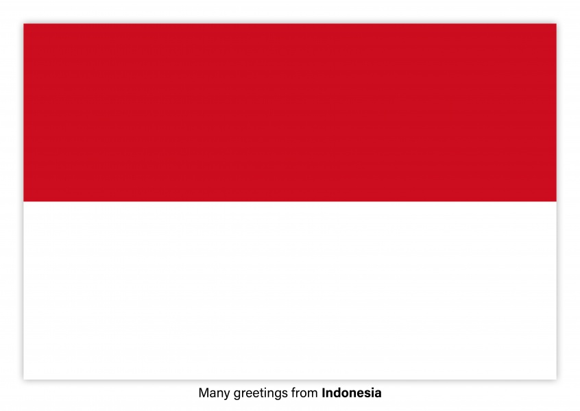 Postcard with flag of Indonesia