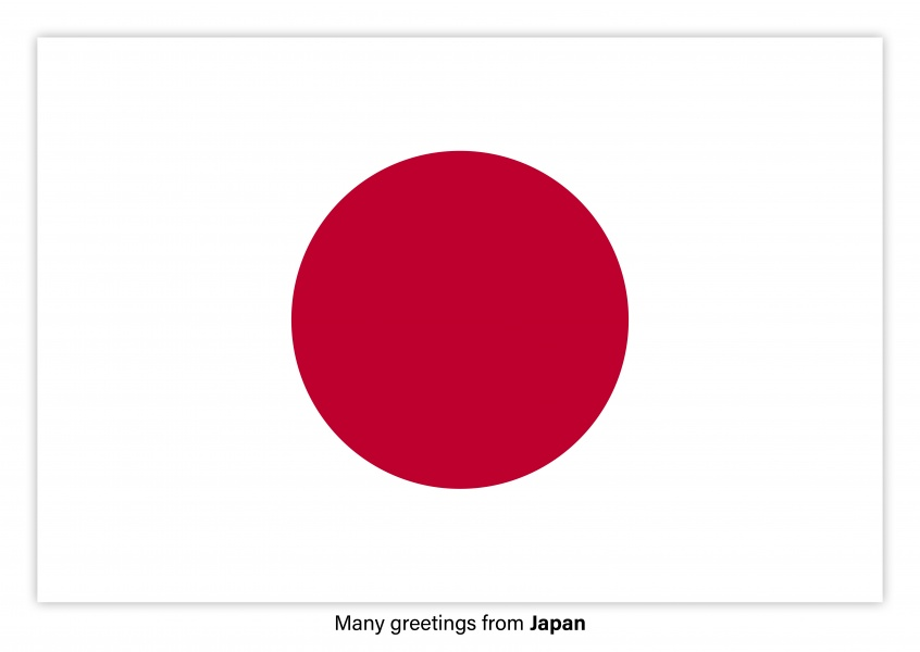 Postcard with flag of Japan