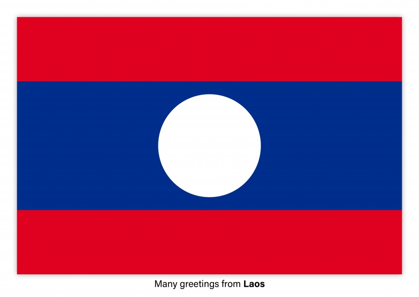 Postcard with flag of Laos