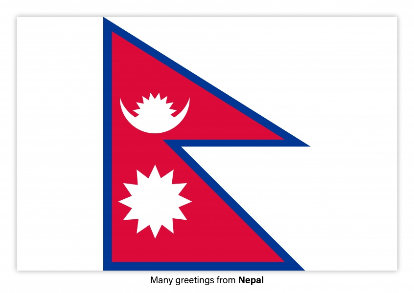 Postcard with flag of Nepal
