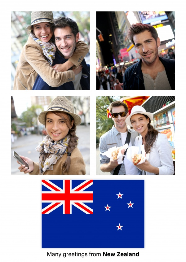 Postcard with flag of New Zealand