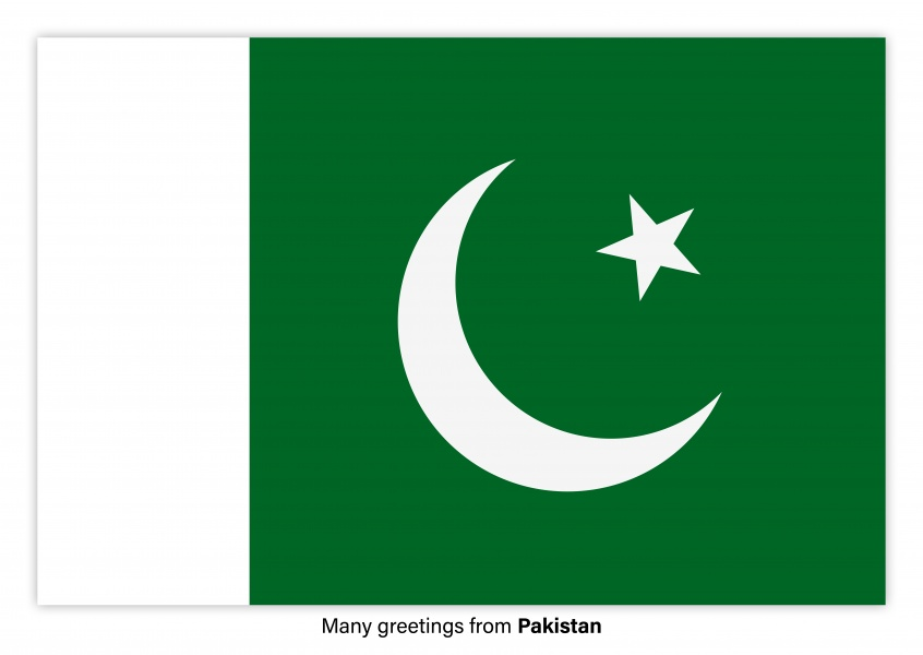 Postcard with flag of Pakistan