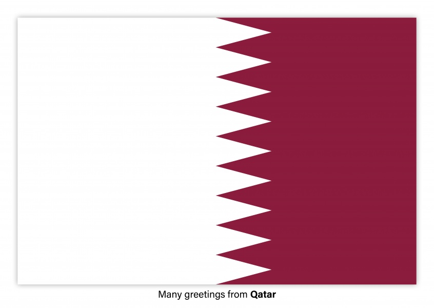 Postcard with flag of Qatar