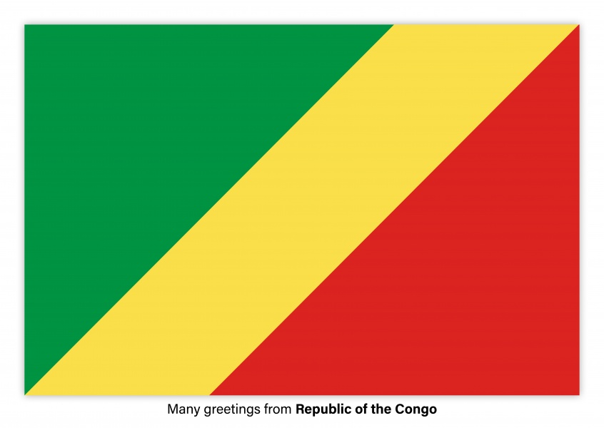 Postcard with flag of the Republic of the Congo