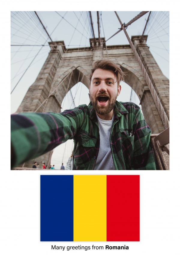 Postcard with flag of Romania