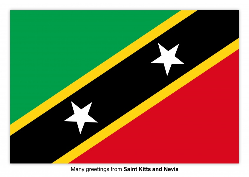 Postcard with flag of Saint Kitts and Nevis
