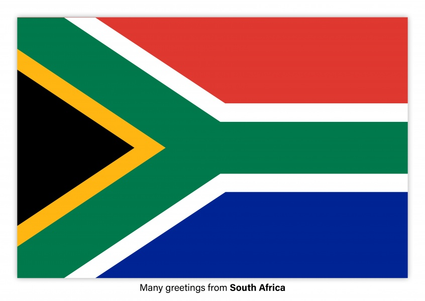 Postcard with flag of Solomon South Africa