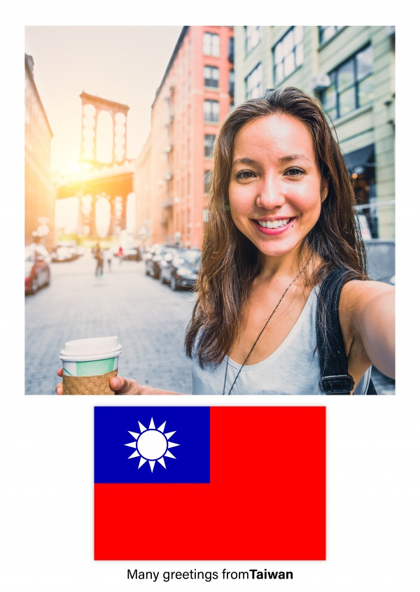 Postcard with flag of Taiwan