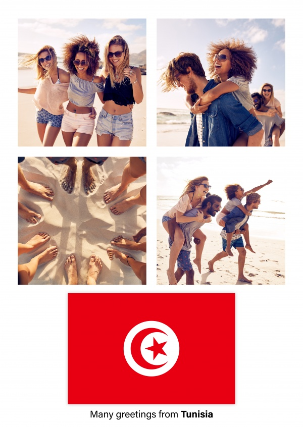Postcard with flag of Tunisia