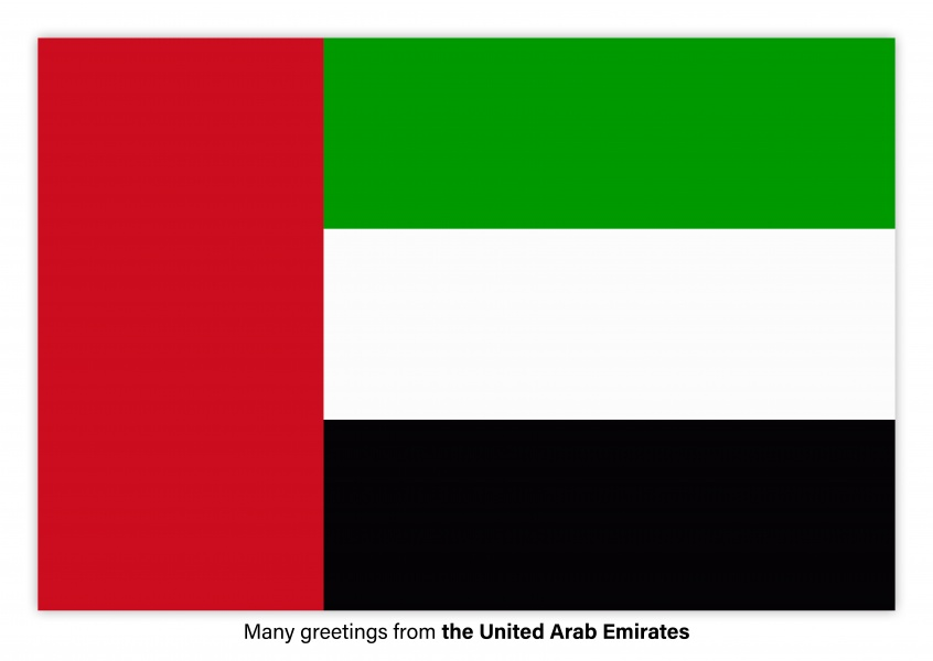 Postcard with flag of the United Arab Emirates
