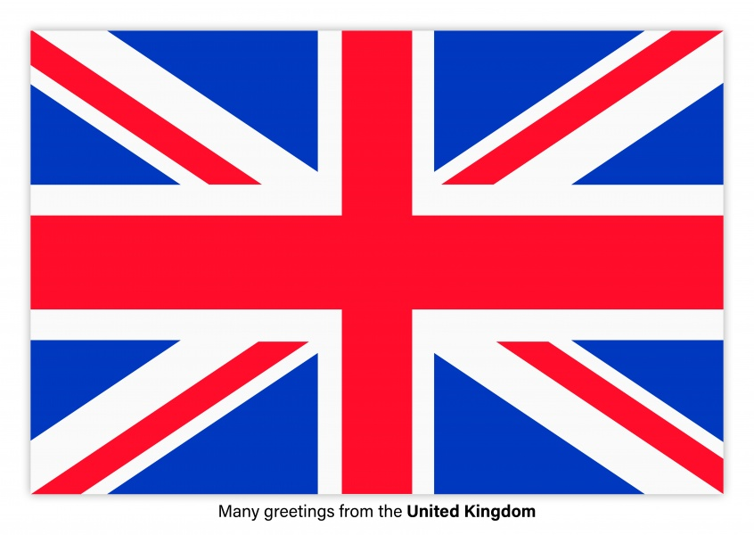 Postcard with flag of the United Kingdom