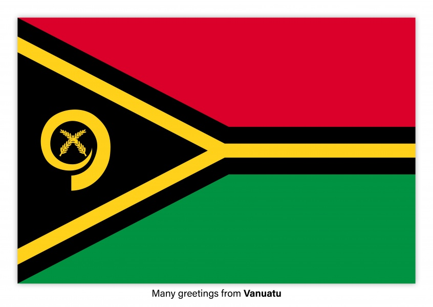 Postcard with flag of the Vanuatu