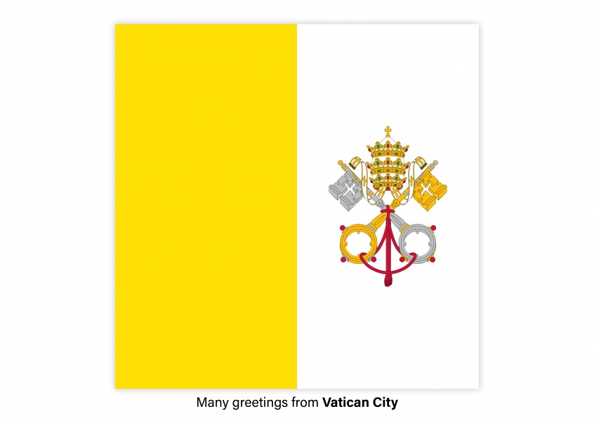 Postcard with flag of Vatican City