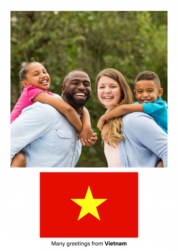 Postcard with flag of Vietnam